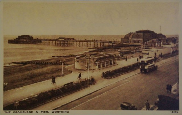 The Promenade and Pier, Worthing, Sussex, old postcard