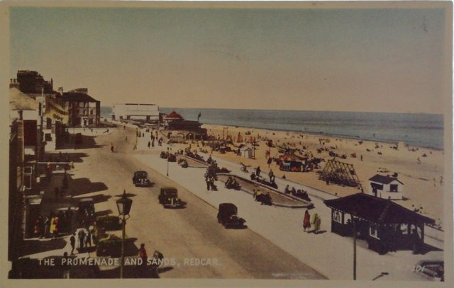 The Promenade and Sands, Redcar, Yorkshire, old postcard
