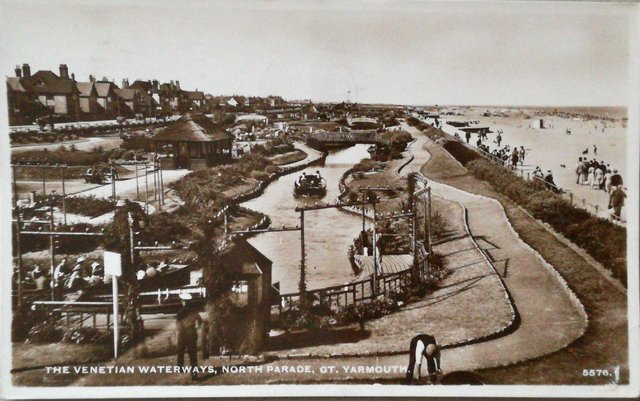 Vintage postcard of The Venetian Waterways, North Parade, Great Yarmouth