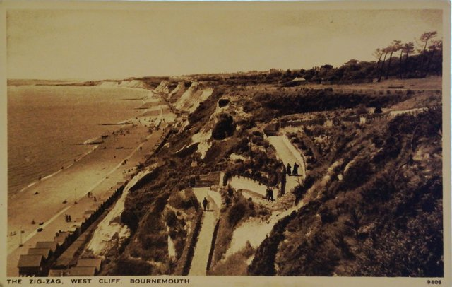 The Zig-Zag, West Cliff, Bournemouth, vintage postcard