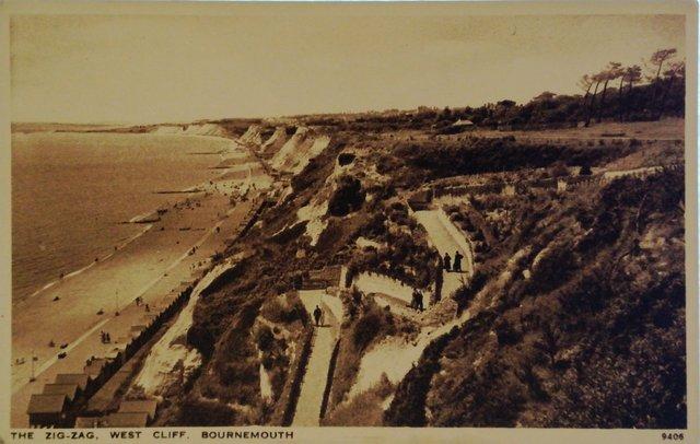 The Zig-Zag, West Cliff, Bournemouth, vintage postcard