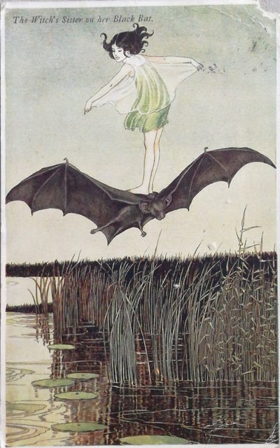 Vintage postcard The witch's sister on her black bat