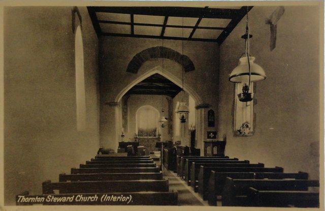 Thornton Steward Church, Yorkshire, old postcard
