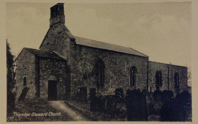 Thornton Steward Church, Yorkshire, vintage postcard