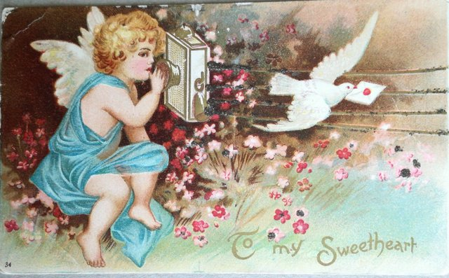 To my sweetheart, vintage postcard