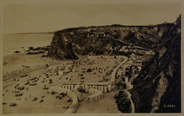Tolcarne Beach, Newquay, Cornwall, old postcard