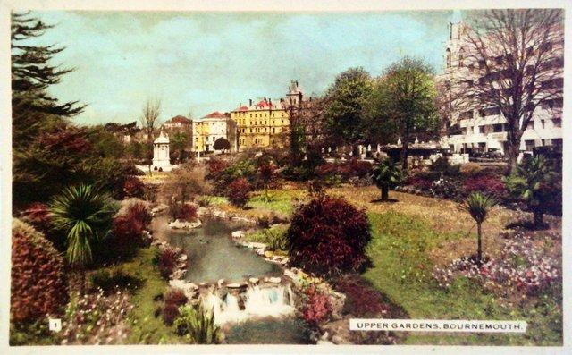 Upper Gardens, Bournemouth, vintage postcard