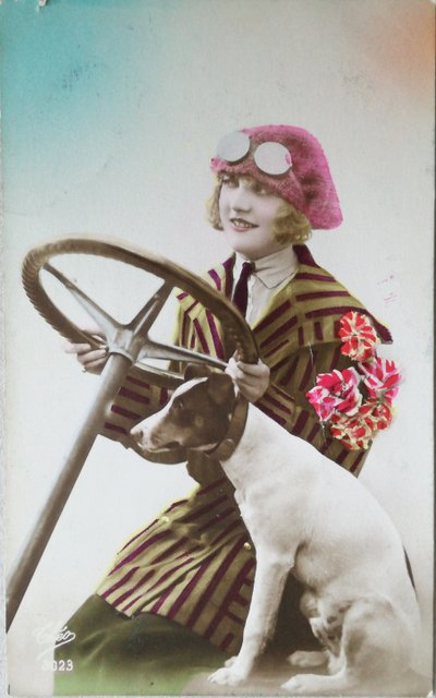 Vintage lady and her dog