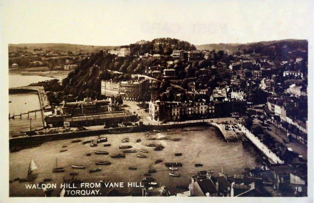 Waldon Hill from Vane Hill, Torquay, Devon, old postcard