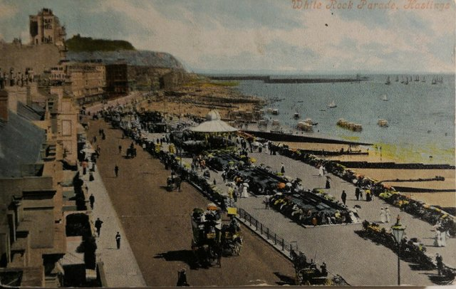 Vintage postcard of White Rock and Parade, Hastings, Sussex