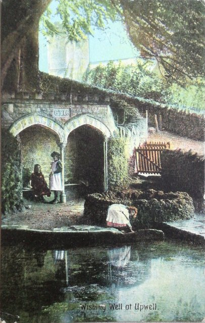 Wishing Well at Upwey, Dorset, vintage postcard